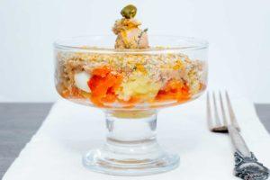 Салат мимоза с тунцом и перепелиными яйцами