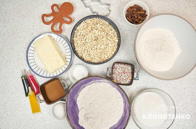 Подготовьте все ингредиенты для приготовления овсяного печенья