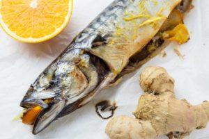 Скумбрия с апельсином и имбирем