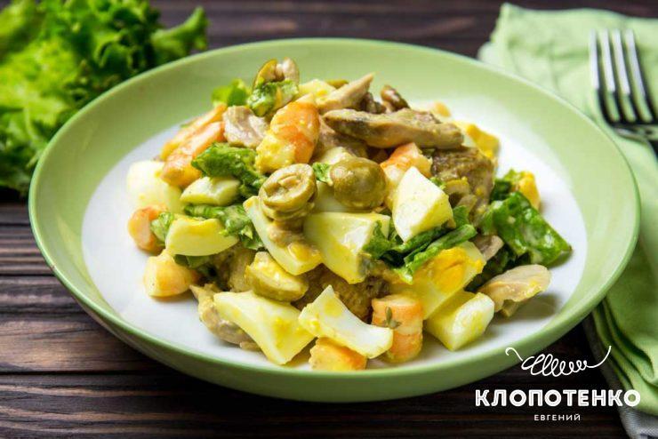 Салат оливье с креветками и перепелами