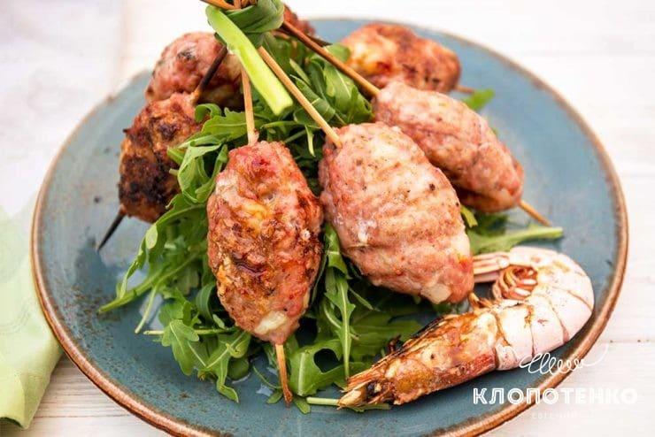 Кебаб зі свинини з креветками