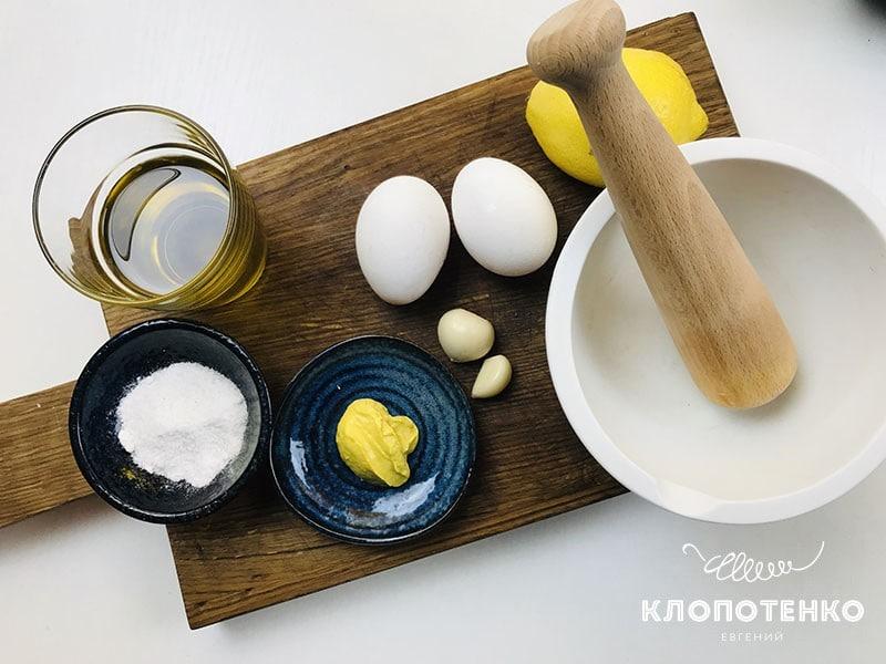 Ингредиенты для соуса айоли