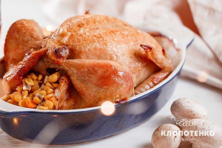 Фаршированная курица с кукурузой и курагой
