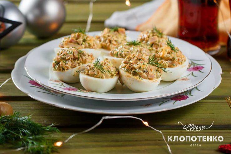 Фаршированные яйца с ветчиной