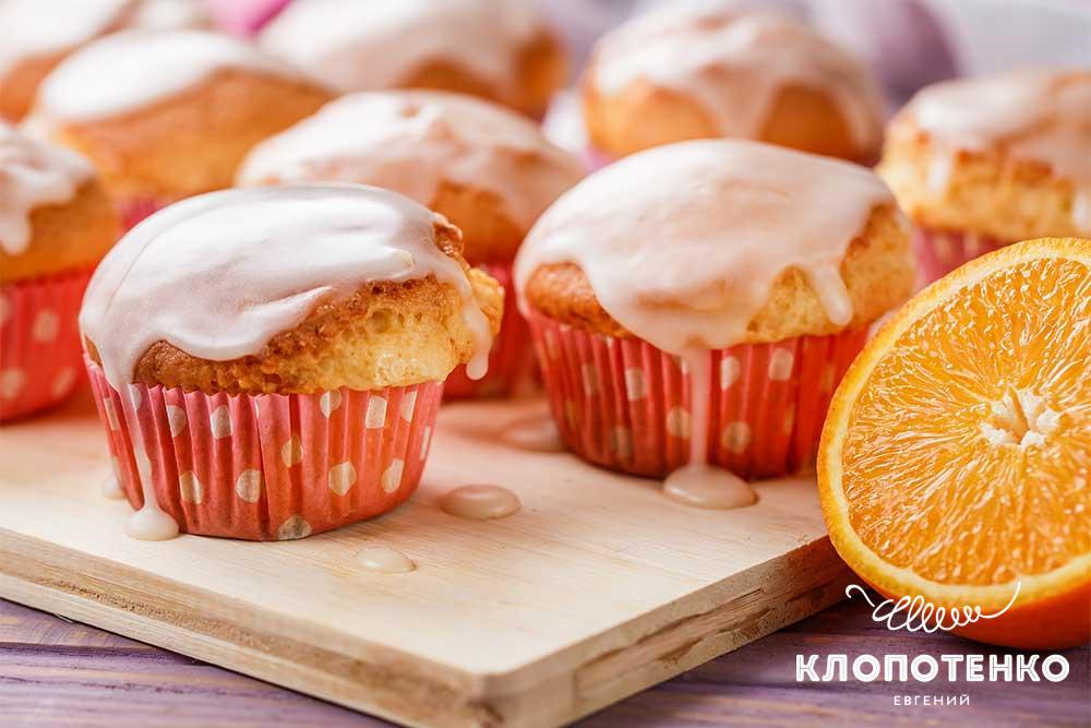Кекси на сметані з апельсиновою глазур'ю