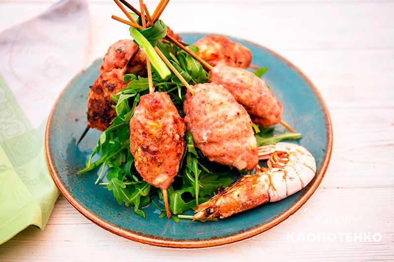 Кебаб из свинины с креветками