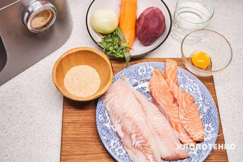 Подготовьте все ингредиенты для рыбных котлет