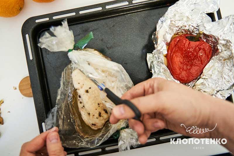 Вытащите мясо из рукава