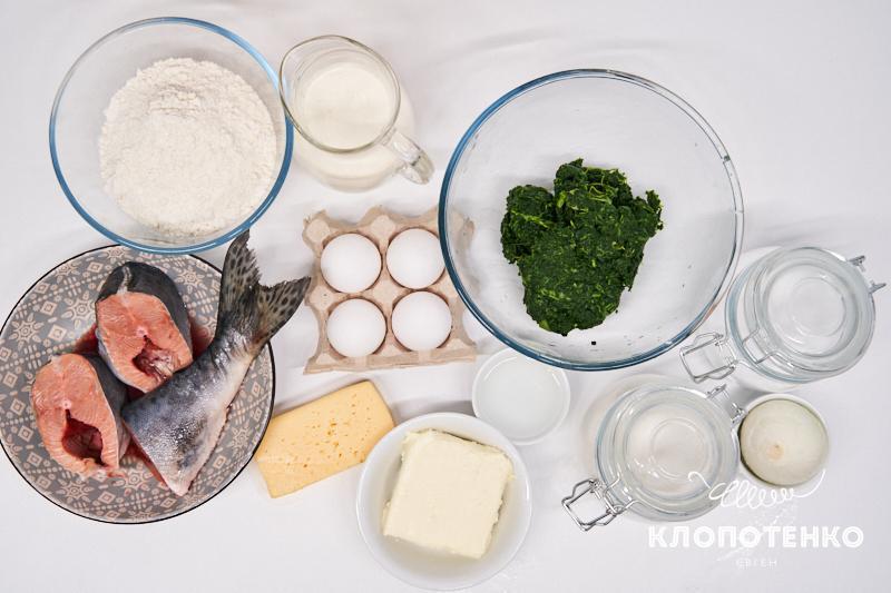 Подготовьте все ингредиенты для приготовления киша с горбушей