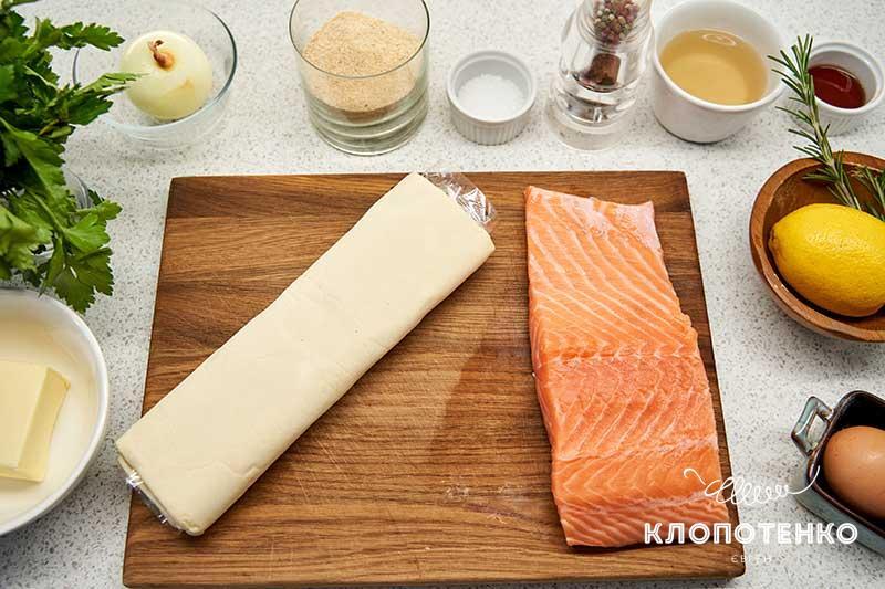 Подготовьте все ингредиенты для приготовления семги в духовке