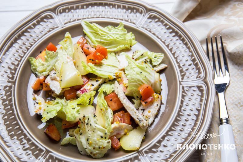 салат с запеченной курицей