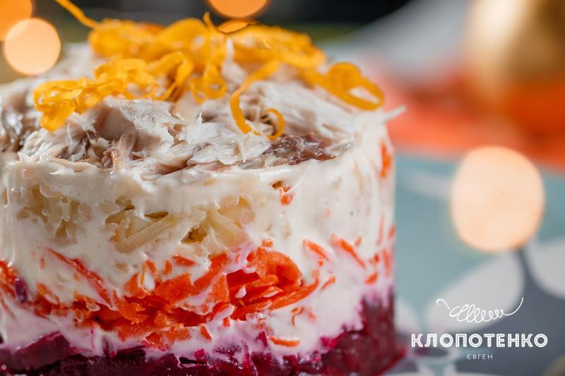 Салат «Шуба» из запеченной скумбрии