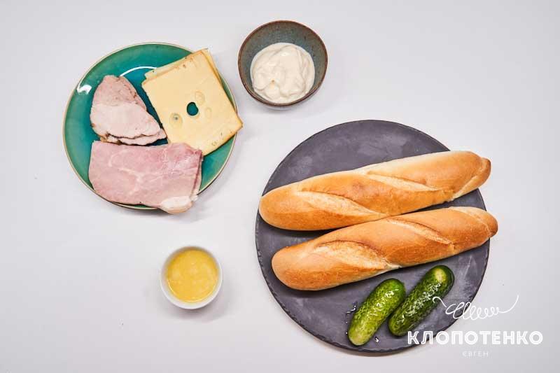 Подготовьте все ингредиенты сэндвича кубано