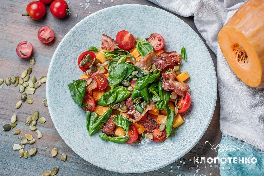 Салат с беконом и тыквой